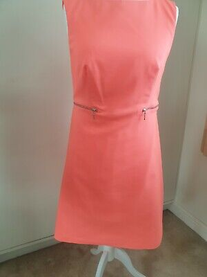 Ladies Salmon/pink Sleeveless Summer Casual Work Fully Lined Dress 14 Bnwot • 4£