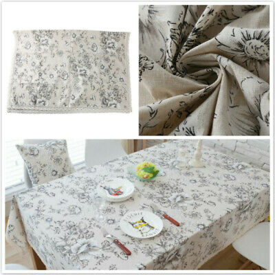 AU19.89 • Buy Cotton Linen Tablecloth Decorative Rectangular Table Cloth Dining Table Cover SW