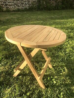 Round Slatted Folding Garden / Picnic Table Solid Wood. 50x50x50cm • 36.99£