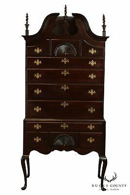 $2795 • Buy Queen Anne Style Vintage Bench Made Mahogany Bonnet Top Highboy