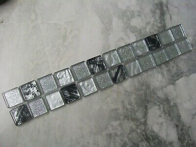 Glass Mosaic Border Tiles - Glitter Silver, Black + Grey - Various Pack Sizes • 2.75£