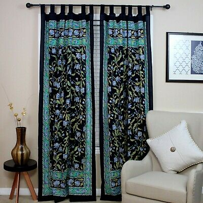French Floral Tab Top Curtain Cotton Drape Door Panel Black Blue • 20.88£