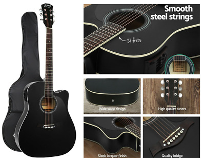 AU93.26 • Buy Alpha 41  Inch Electric Acoustic Guitar Wooden Classical Full Size EQ Bass Black