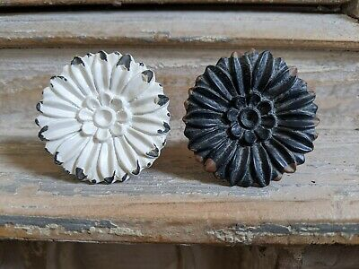 NEW French Vintage Shabby Chic Black White Metal Door Drawer KNOB Pull Handle • 6.99£