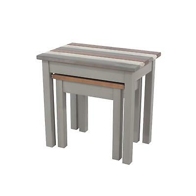 Corona Vintage Pine Nest Of 2 Side Lamp Tables Grey Mexican White & Natural Wood • 56.99£