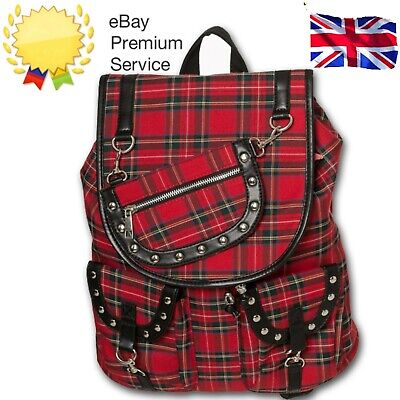 AU53.82 • Buy Banned Yami 80s Punk Nugoth Goth Tartan Check Work School Bag Uni Backpack