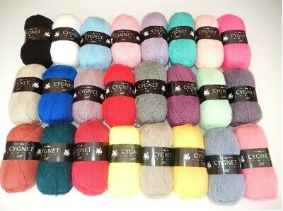 NEW-Cygnet Yarns Double Knit (DK) Wool 100G - 37 Shades  - MINIMUM ORDER 2 BALLS • 2.20£