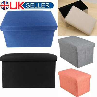 Folding Ottoman Storage Box Bedroom Living Room Footstool Chest Bench Grey Beige • 11.88£