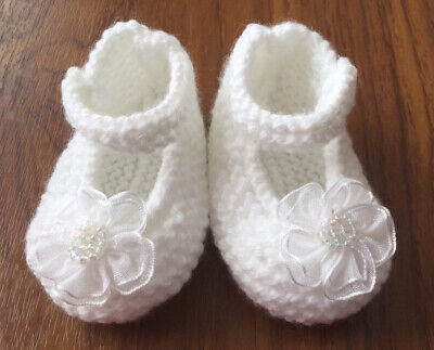 Hand Knitted Baby Shoes/booties (0-3 Months) White With Flower • 4.49£