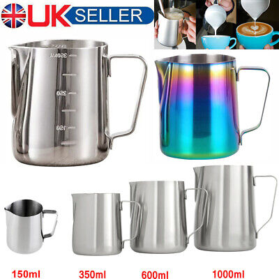 £6.89 • Buy Stainless Steel Milk / Coffee Frothing Jug Frother Latte Container Metal Pitcher
