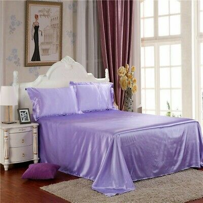 AU45.88 • Buy Faux Silk Satin Flat Sheets Comfort Solid Color Bed Covers Pink Blue White Home