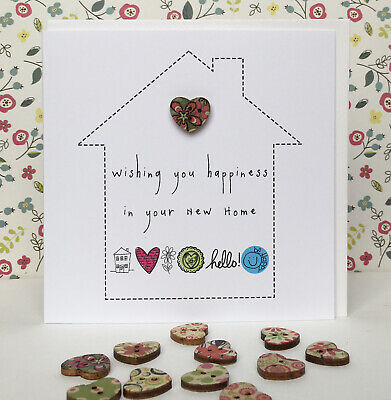 Handmade New Home Card With A Little Wooden Heart. 5  Square • 2.35£