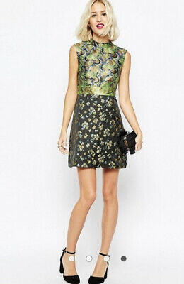 AU60 • Buy ASOS Mix Contrast Print Green Black Gold Jacquard Baroque Dress AU14