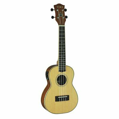 AU349 • Buy Tiki '6 Series' Spruce Solid Top Electric Concert Ukulele With Hard Case (Natura