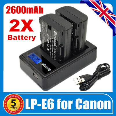 2x 2600mAh LP-E6 Battery & USB Dual Charger For Canon EOS 5D Mark II III 60D 70D • 17.49£