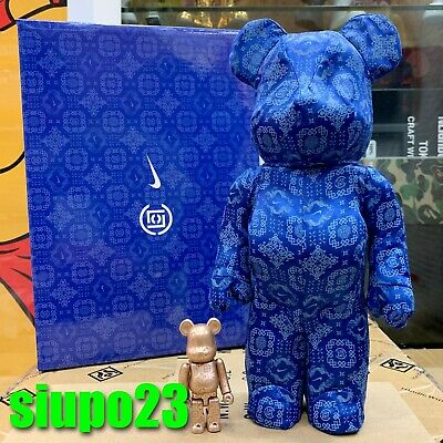 $639.99 • Buy Medicom 400% + 100% Bearbrick ~ Clot Nike Be@rbrick Royale University Blue Silk