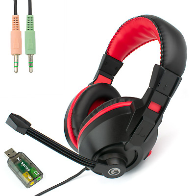 USB COMPUTER HEADSET With STEREO MICROPHONE | Zoom Or Skype Multimedia PC Chat • 12.99£