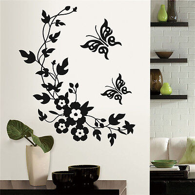Home Butterfly Flower Toilet Bathroom Wall Seat Stickers Art Animal Decal DIY Jj • 3.36£