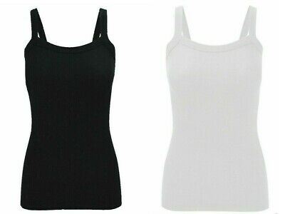 £4.48 • Buy New Ladies Women's Summer Fitted Ribbed Strappy Vest Top Plus Size UK 8-14