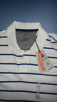 Brand New Marks And Spencer White With Stripes Polo Shirt Size S • 6.20£