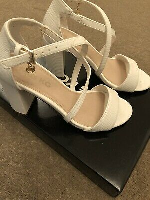Miss Guided White Block Heel Shoes Size 4 In Excellent Condition New Inbox • 15£