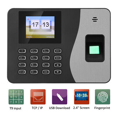 2.4in LCD Biometric Fingerprint Time Clock Employees Attendence Machine Recorder • 42.12£
