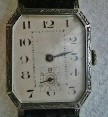 Art Deco Silver Cased Man's Watch From 1920's, Argo Watch Co. Spares Or Repair • 95£