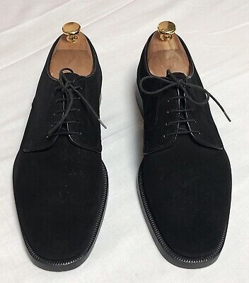 Bally Gattico Made In Italy Mens Black Suede Lace Up Shoes Size 41 • 90£