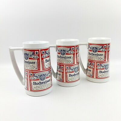 $ CDN41.26 • Buy Vtg Lot Of 3 BUDWEISER Thermoserv Red Insulated Beer Mug Steins Classic Logo