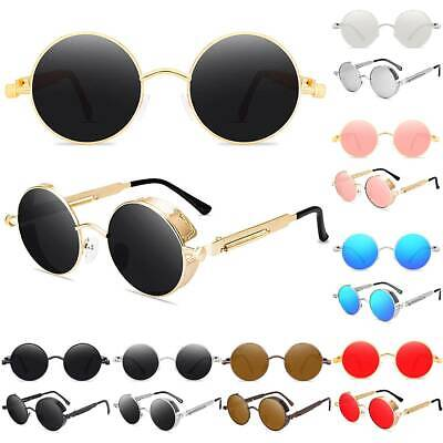 AU13.96 • Buy Polarized Steampunk Sunglasses Vintage Retro Mens Hippie Round UV400 Sun Glasses