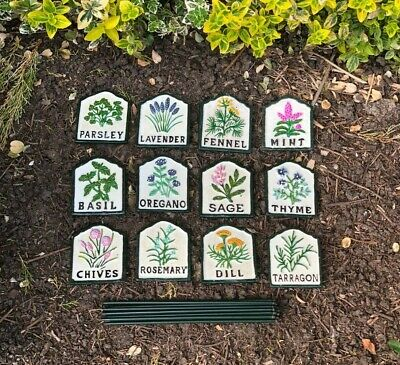 £26 • Buy Herb Signs Cast Iron Hand Painted Set Of 12 Signs Markers Tags Labels Gardening