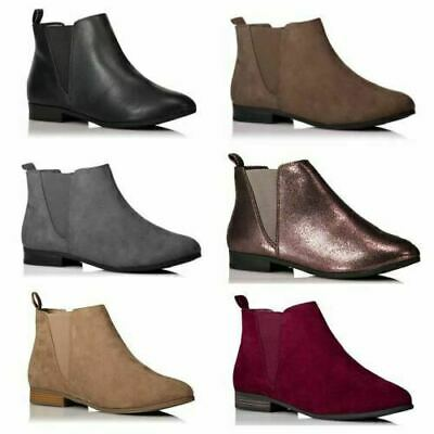 Ladies Girls Chelsea Ankle Low Heel Flat Faux Leather Suede Boots Shoes Size New • 7.99£