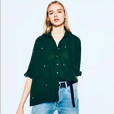 $26 • Buy Zara Basic Military Green Stars Button Down Shirt Size Large