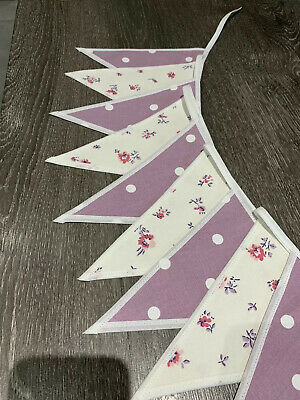 LAURA ASHLEY BUNTING - Double Sided Lullabelle And Grape Polka Dot • 9£