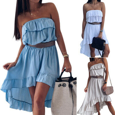 Women Strapless Ruffle High Low Dress Ladies Summer Party Bandeau Top Sundress • 10.63£