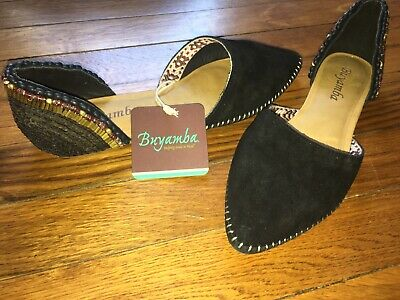 $50 • Buy NWT Buyamba Anthropologie Black Leather Suede Beaded Sequin D'Orsay Flats 8.5