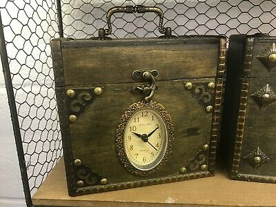 Clearance Rustic Wooden Box Clock Style Trunk Treasure Chest Vintage Storage  • 12.99£
