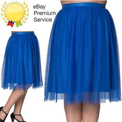 Banned Apparel Freefall Vintage Retro Tulle Net Mesh Blue Midi Skirt Curve Sizes • 29.99£