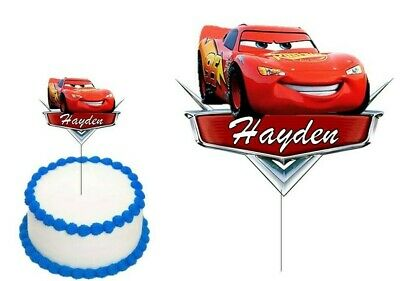 CARS LIGHTNING McQUEEN CAKE TOPPER PERSONALISED GLOSSY CARDSTOCK DECORATION • 7.76£