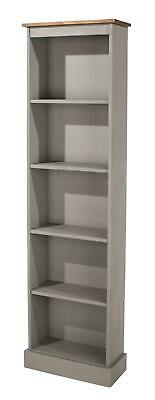 5 Tier Grey Solid Pine Bookcase Tall Narrow Display Shelving Storage Furniture • 64.99£