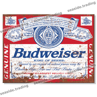 BUDWEISER Retro Tin Metal Sign Man Cave Garage Garden Shed Bar Pub Beer Larger  • 4.95£