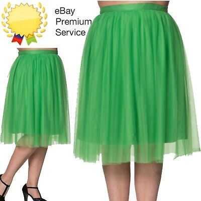 Banned Apparel Freefall Vintage Retro Tulle Net Mesh Gree Midi Skirt Sizes 16-22 • 29.99£