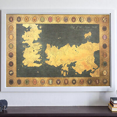 £2.14 • Buy Game Of Thrones Houses Map Westeros And Free Cities Poster AU