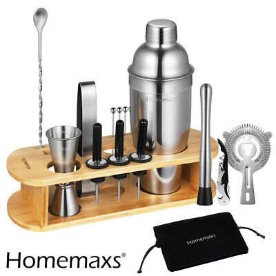 Silver Cocktail Making Set 17pc Parisian Matte Matini Shaker Drinks Party Gifts • 19.98£