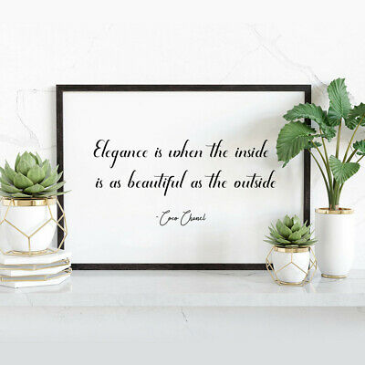 COCO CHANEL Wall Art Print Inspirational Quote Typography A4 • 4.99£