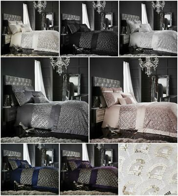 Tessella Luxury Embroidered Laced Duvet Quilt Cover Bedding Set Silver Charcoal • 22.95£