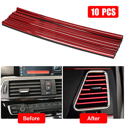 $8.27 • Buy 10Pcs Car Accessories Auto Air Conditioner Outlet Decoration Strip Red Universal