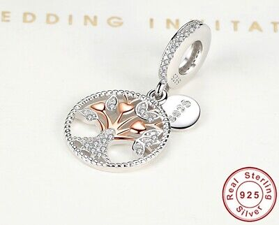 AU22.97 • Buy 💎Authentic Pandora Charms Beads Rose Gold Family Tree Silver Dangle Bracelets