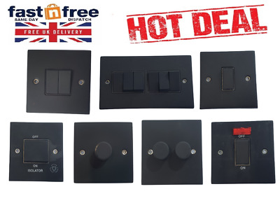 SELECTRIC Matt Black Light Switches, Plug Sockets, Dimmers, Cooker, Fuse, TV • 6.99£