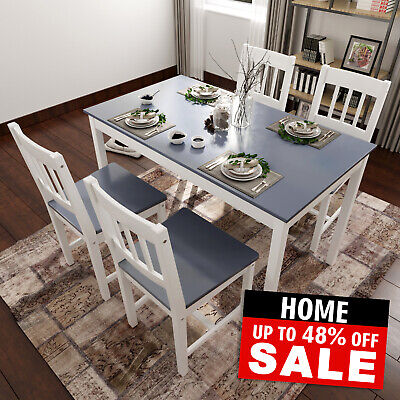 £139.99 • Buy Dining Table And 4 Chairs Set Solid Wooden Home Grey White Kitchen Furniture
